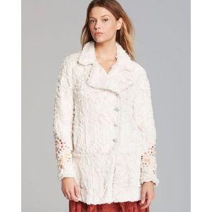 RARE Free People Fur Teddy Embellished Swing Coat